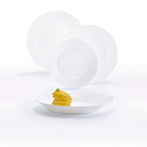 Luminarc Harena Vajilla de Vidrio Opal Extra Resistente para 6 Personas, 18 Piezas, 100% higiénico, Blanco