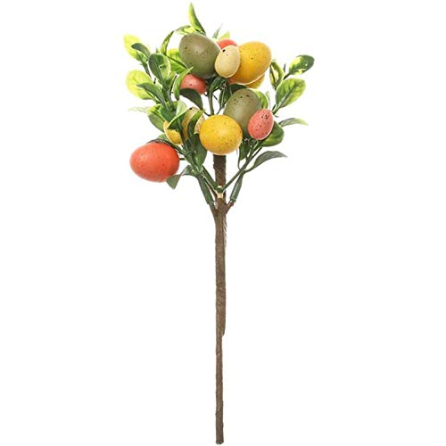 Artificial Egg & Leaves for Home Decor, Simulation Plant Tree Branch Wedding Bouquet Easter Party Decoration, DIY Lifelike Colorful Plastic Fruit Ornament Gifts