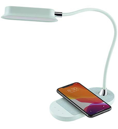 Momax LED Desk Lamp with Qi Wireless Charger, Flexible Gooseneck Desk Lamp, 5 Brightness, 3 Color Mode, USB C Input, Multifunctional Table Lamp for Bedroom, Bedside, Office(Mint Green / Tiffany Blue)