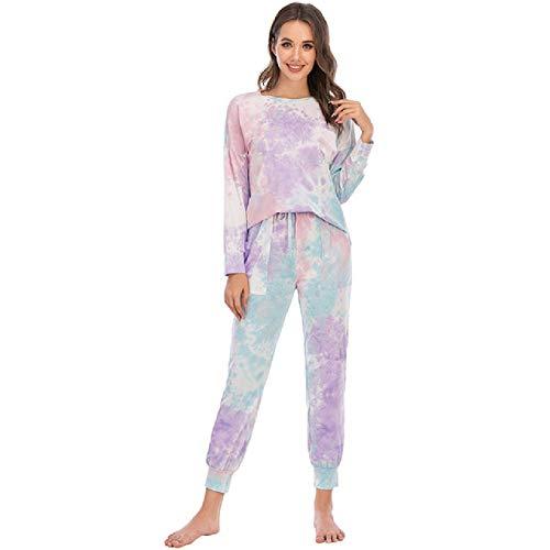 Pijama de Invierno para Mujer, Camisones de algodón de Dos Piezas para Mujer,Pijama de Manga Larga