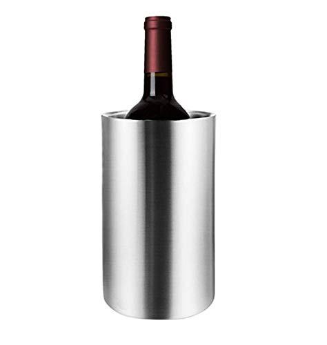Aiglen Barra de Acero Inoxidable Cubo de Hielo Dos Asas Cubo de champán Cubo de Vino Escupir Contenedor de Barril de Vino Ktv Club Bar Suministros (Size : Without Lid)