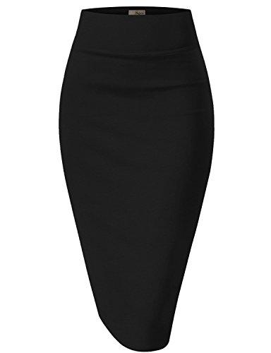 Hybrid & Company Womens Pencil Skirt for Office Wear KSK43584 1017 Black X Large