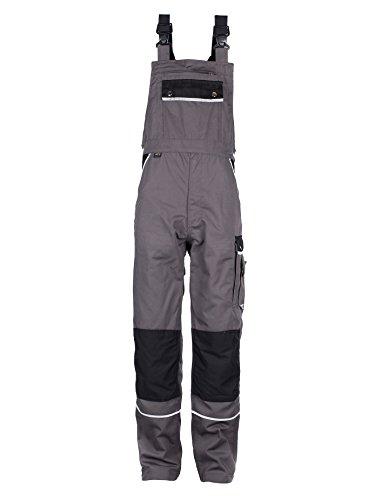 TMG® Arbeitslatzhose Herren, Lange Arbeitshose mit Latz und Kniepolstertaschen Grau 50