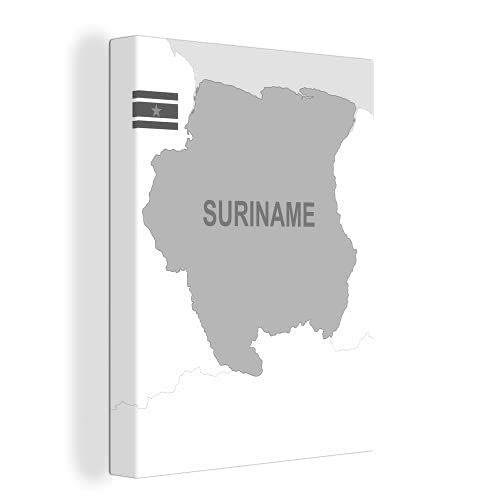 Leinwandbild - Die Karte von Suriname mit der Flagge illustriert - schwarz & weiß - 90x120 cm