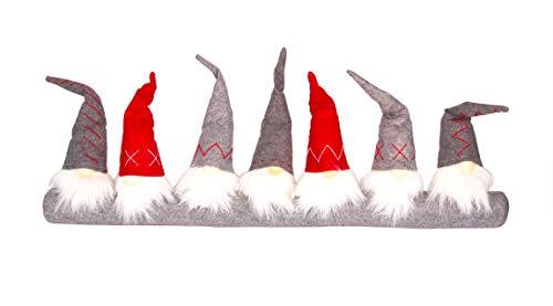 BigDean Zugluftstopper 7 Zwerge 90 cm - Türrolle aus Textil & Filz - Türschlange im Weihnachtsdesign - Weihnachtsdeko Wichtel - Windstopper