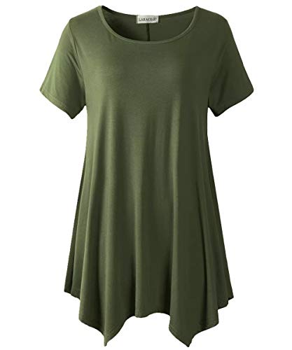 LARACE Womens Swing Tunic Tops Loose Fit Comfy Flattering T Shirt Army Green