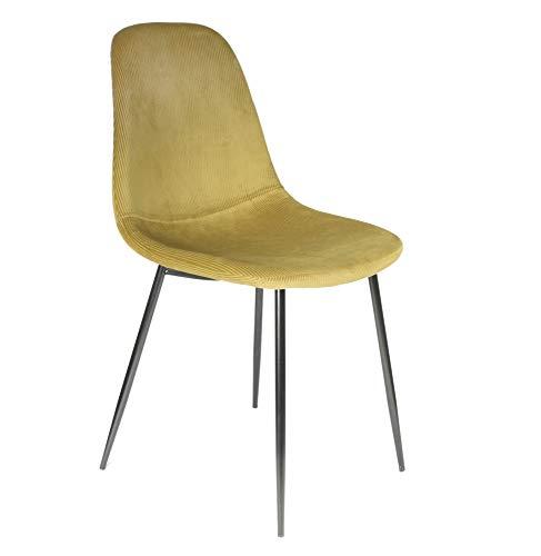 Silla de terciopelo acanalado – Giulia- L 54 cm x L 44,2 cm x H 85,2 cm – amarillo mostaza.