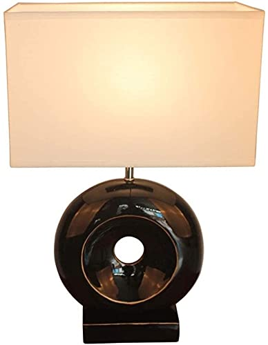 Lámpara Escritorio Material de tela cuadrado blanco hecho de material de resina negra, cuerpo de lámpara de sobre transparente, lámpara redonda, lámpara de iluminación, lámpara de mesita de noche, lám