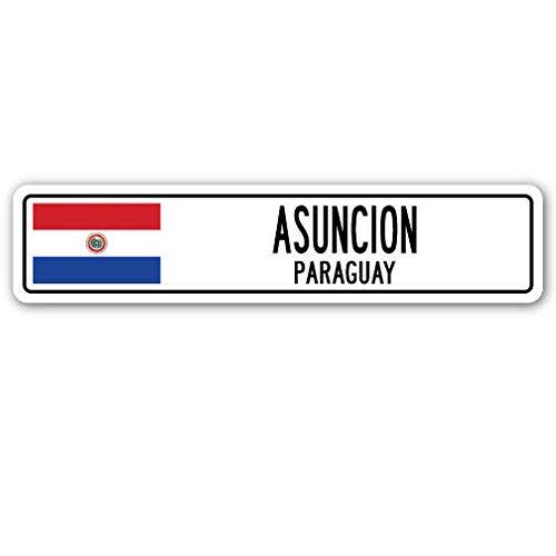 TNND New Asuncion Paraguay Straßenschild, Paraguaya-Flagge, City Country Road Wall G Straßenschild, 10,2 x 40,6 cm