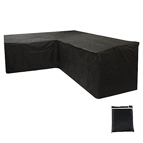 Maalr Fundas para sofá de jardín en forma de L/V – Funda protectora para sofá esquinero impermeable con funda y cuerdas de sujeción, antipolvo y antiUV, duradera para sofás