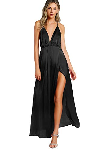 SheIn Women's Sexy Satin Deep V Neck Backless Maxi Party Evening Dress Small Black