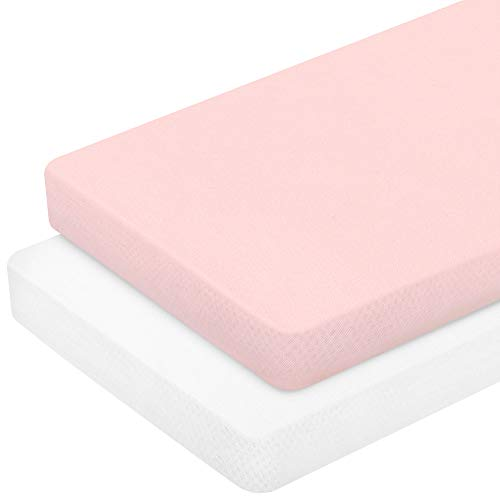TILLYOU Jersey Knit Stretchy Pack N Play Sheets Fitted Portable/MiniCrib Sheets Set for Baby Girls Boys UltraSoft Gentle Playard Playpen Sheets 2 Pack Peachy Pink amp White