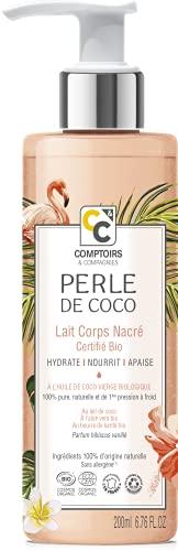 COMPTOIRS ET COMPAGNIES   Lait Corps Nacré Hydratant Bio 200ml   Perle de Coco   Cosmos Organic