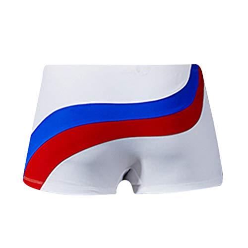 Yowablo Herren Sport Badehose Stripe Nylon Breathable Bulge Briefs Badehose (XL,1Weiß)