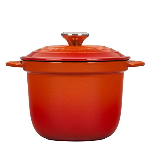 LE CREUSET LS4101S-182SS Rice Pot with SS Knob & Stoneware Insert, Gusseisen, flame