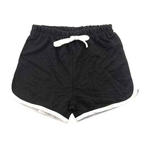 Soarsue Running Athletic Cotton Shorts Pure Cotton Short Pants for Toddler Kids Summer Beach Sports (Black, 100(2-3Years))