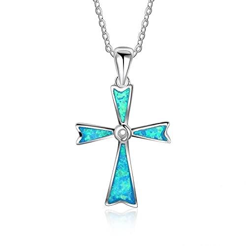 Collares Joyería Colgantes Collares Cruzados De Ópalo Azul para Mujer, Collares De Boda Blancos,Colgantes para Mujer, Joyería De Moda