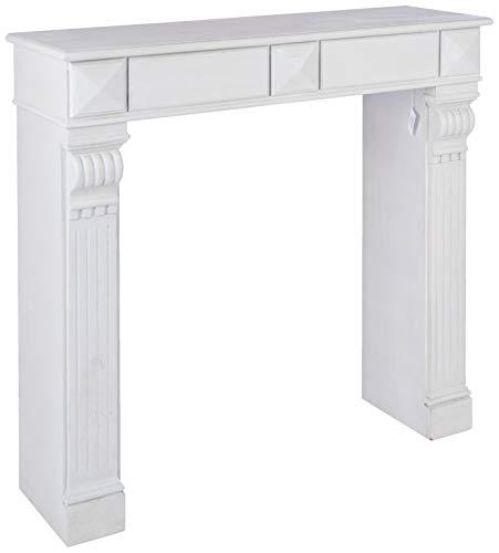 Better & Best 951206 Frente de chimenea francesa madera decapada de madera, color: blanco decapado