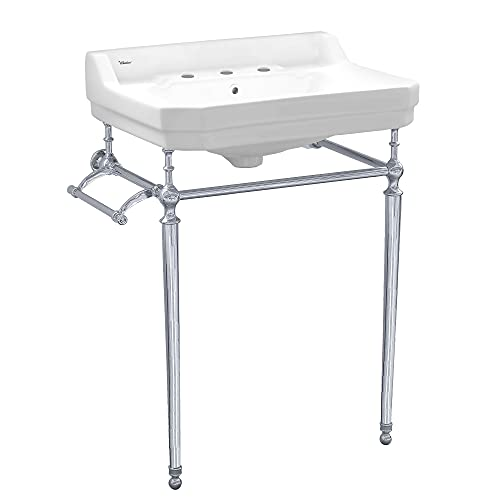 Whitehaus Collection WHV024-L33-3H-C Console Sink, White/Polished Chrome