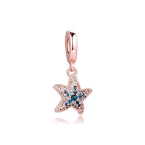 LIIHVYI Pandora Charms para Mujeres Cuentas Plata De Ley 925 Colgante De Estrella De Mar Brillante Compatible con Pulseras Europeos Collars