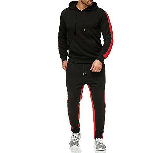 borfieon Sudadera con Capucha de Moda Conjunto de Pantalones Casual Otoño Informal Hoodie Encapuchado Jersey Pullover Weatshirt Mangas Largas para Hombres,Black,5XL