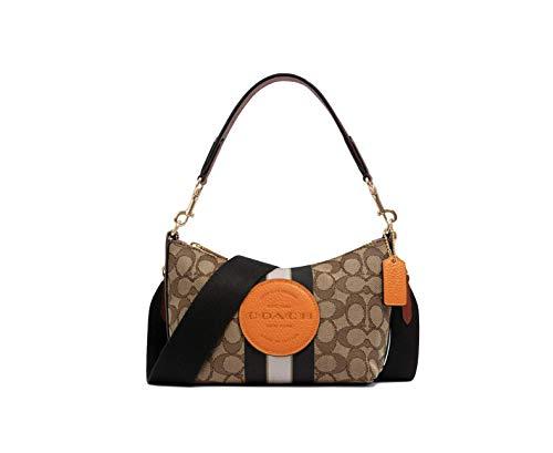 Coach Women's Dempsey Shoulder Bag In Signature Jacquard With Stripe And Patch (IM/Khaki Sunbeam Multi)
