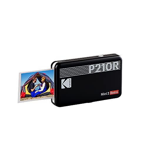 "Kodak Mini 2 Retro 2.1x3.4"" Portable Instant Photo Printer, Wireless Connection, Compatible with iOS, Android & Bluetooth, Real Photo, 4Pass Technology & Lamination Process, Premium Quality- Black"