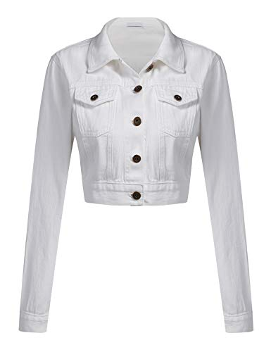 Womens Button Down Long Sleeve Cropped White Denim Jean Jacket