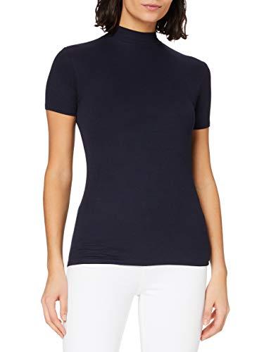Amazon-Marke: MERAKI Damen Slim Fit T-Shirt mit Stehkragen, Blau (Maritime Blue), 34, Label: XS