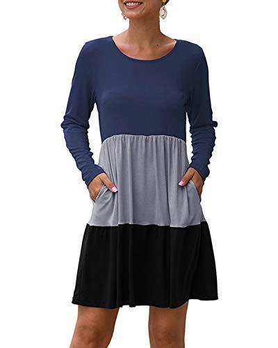 YOINS Damen Kleider Sommer Tshirtkleid für Damen Kleider Knielang Tunika Winterkleid V-Ausschnitt Elegant Brautkleid,Multi-schwarz,L