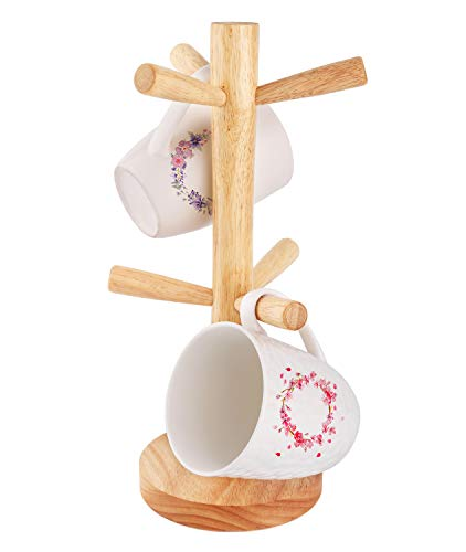 Nuovoware Mug Holder Tree Wooden Cup Holder Mug Tree Holder Rack Tabletop Holder Tea Coffee Cup Mug Hoooks Mug Cup Tree Storage Display Stand Burlywood