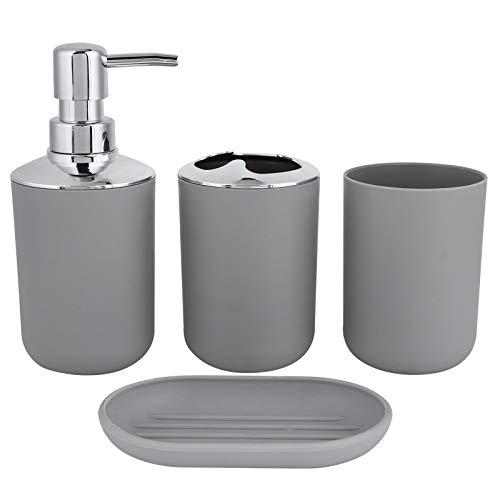 Deror Kit de baño 4 Unids/Set Accesorio Botella de loción de plástico Taza de Almacenamiento Taza de Enjuague Jabonera(Gris)