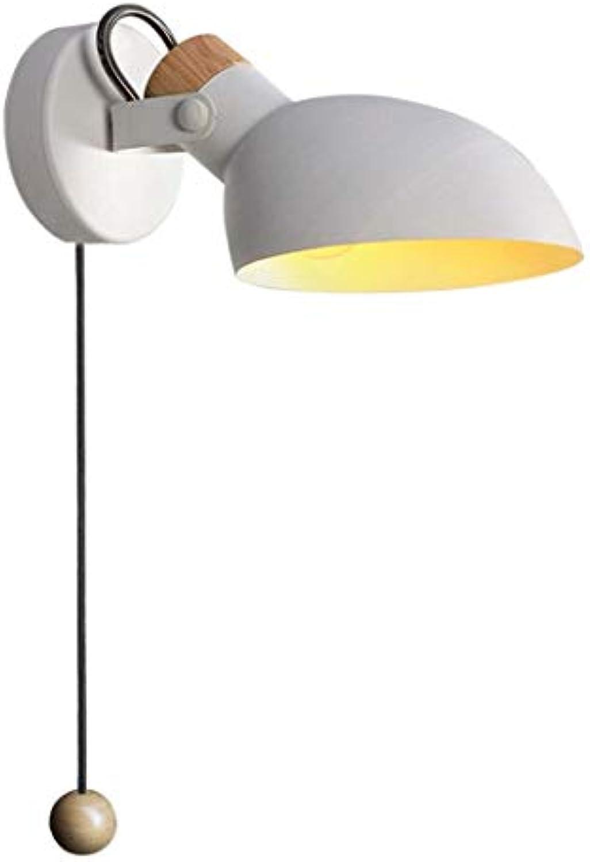ZLMAY LED Wandleuchte, Nordic Macaron einfache Wohnzimmer Schlafzimmer Leselampe, mit Schalter aus massivem Holz kreative drehende Lampe (Farbe   Wei)