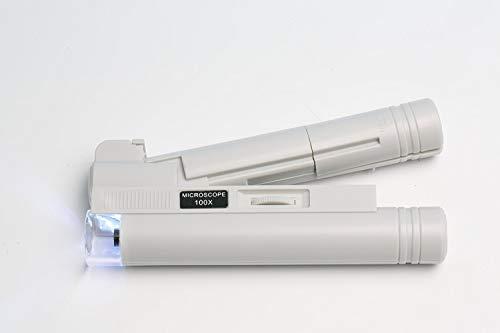 GOLDIFLORA OPTICS MG 10085-1- TASCHEN-MIKROSKOP MIT FADENKREUZ-SKALA IM BILD (0,02mm-MESS-SKALA) - ca.80x VERGR.- LED LAMPE - INKLUSIVE ZUBEHÖR mit 1x LED Taschenlampe mit 9 LED´s + 1x Reinigungsset im UVP-WERT von 12,95