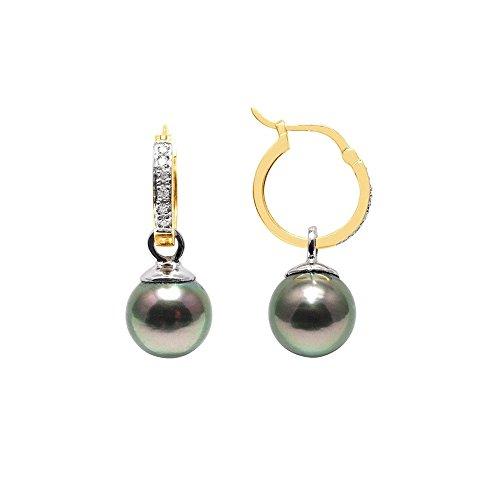 Boucles dOreilles Perles de Tahiti, Diamants et Or Jaune 750/1000