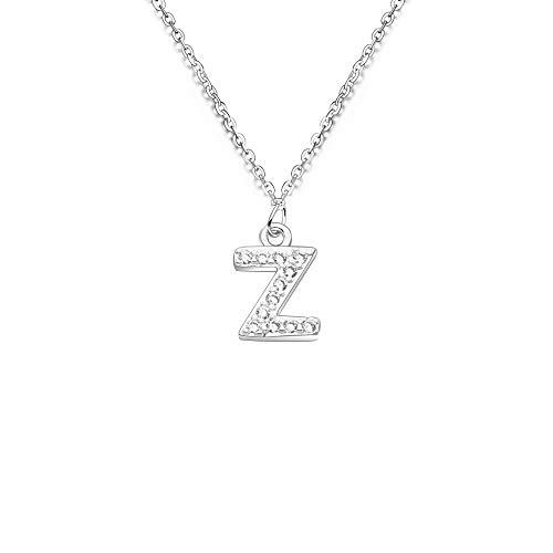 Gargantilla de plata S925 con colgante de inicial 26 de cristal para mujer y niña (Z)