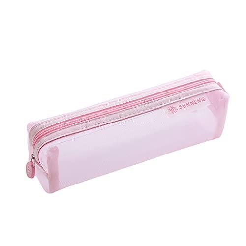 estuche Caja de lápices de gran capacidad, bolsas de malla con cremallera, maquillaje accesorios cosméticos organizador, aseo de viaje Bolsa de almacenamiento-8Colors caja de lápices ( Color : Pink )