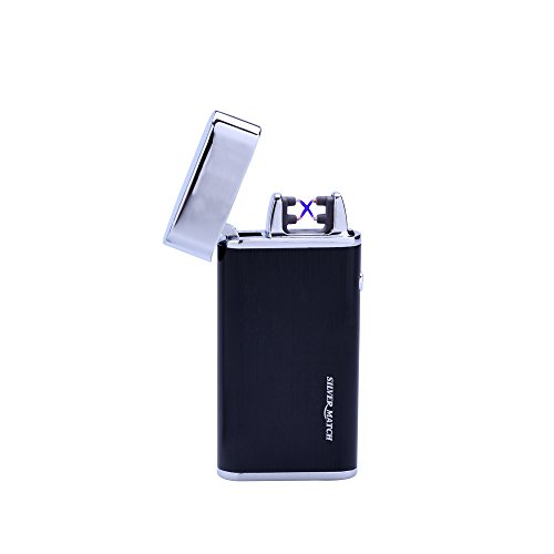 SILVER MATCH - USB Feuerzeug DOUBLE ARC Elektriksystem - Geschenkverpackung - Silber