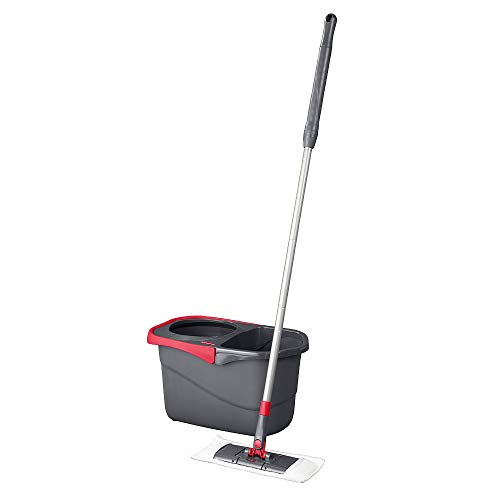 Rubbermaid Microfiber Flat Spin Mopping Floor Care System with Wringer Bucket (2104526), Red