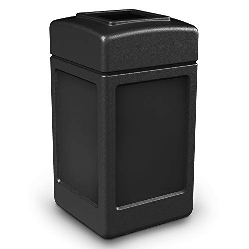 Commercial Zone 732101 Open-Top Indoor/Outdoor Square 42 Gallon Large Waste Trash Container Bin, Black