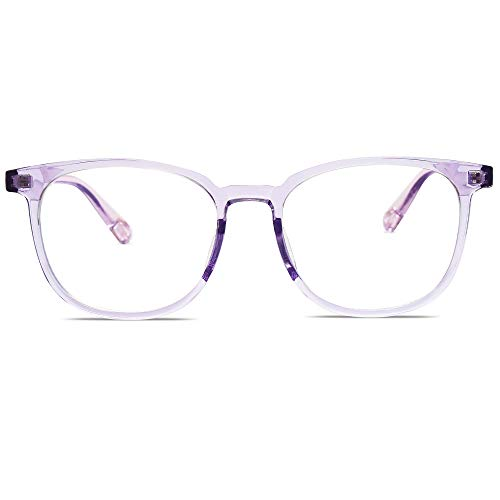 SOJOS Classic Square Blue Light Blocking TR90 Glasses Prescriptionable Eyewear Frame SJ5077 with Crystal Purple Frame/Anti-Blue Light Lens