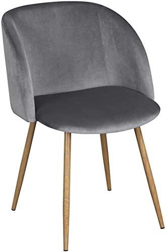 DORAFAIR Esszimmerstühle Vintager Retro Stuhl Polstersessel mit hölzernen Metallbein, Samt Lounge Sessel Clubsessel, Grau