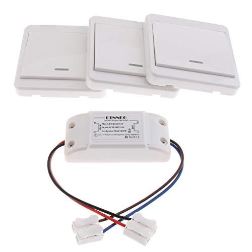 IPOTCH Interruptor de Radio de Control Remoto Interruptor de Radio de Control Remoto con Módulo Receptor 3 X