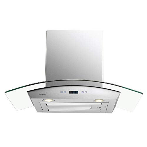 CAVALIERE 30' Inch Glass Canopy Range Hood Wall Mounted Stainless Steel Kitchen Vent