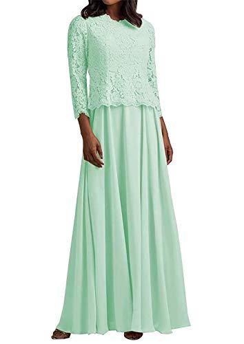 HUINI Abendkleid Lang Elegant Hochzeitskleid Damen Spitzen Brautmutterkleider Langarm mit Jacke Chiffon Mint 46