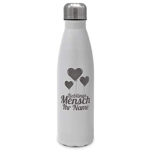 printplanet - Isolierte Trinkflasche mit Text oder Namen graviert - Edelstahl Thermo-Flasche mit Gravur, 500ml - Weiß - Motiv: Lieblingsmensch