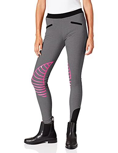 HKM Pantaloni da equitazione Leggings Starlight Donna, Hellgrau/ Pink, 34