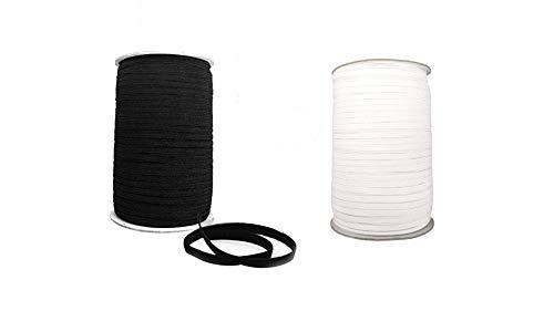 dac Elastico per Cucito 10 M o 5 M Elastico Piatto per Mascherine Bianco Nero 5 mm Piatto Fatto in Italia (10 Metri Nero)