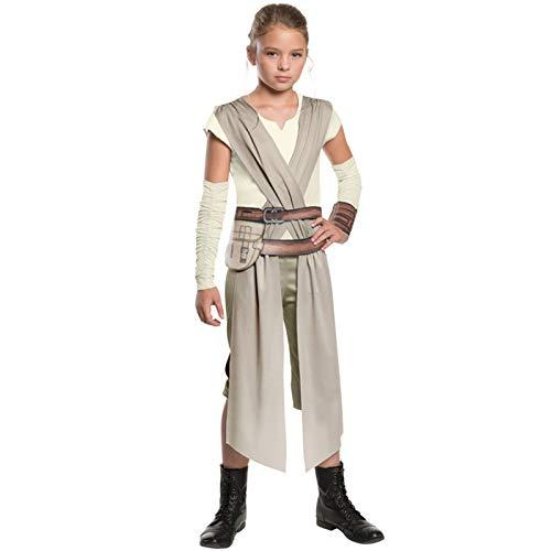 YHX Star Wars The Force Awakens Rey Girl Classic Movie Juego de rol, Disfraz de Halloween