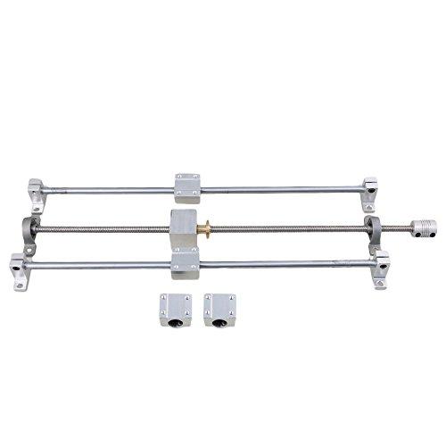 Horizontale Doppelschiene, silberne und graue Schienenwellenunterstützung und 450 mm, 8 mm T8-Leitspindelkupplungssatz mit 15 Stück